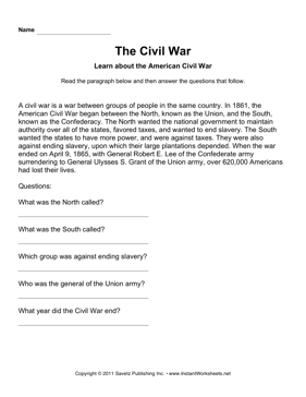 Civil War Comprehension